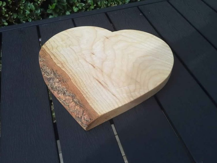 Heart Shaped Cheese / Breadboard. Ash