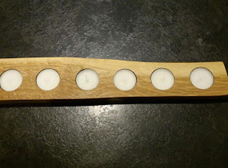 Solid Oak Candle / Egg Holder X6 Tea Lights