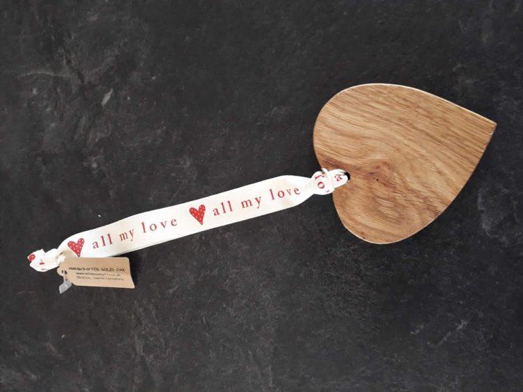 Solid Oak Heart On Premium Ribbon – All My Love