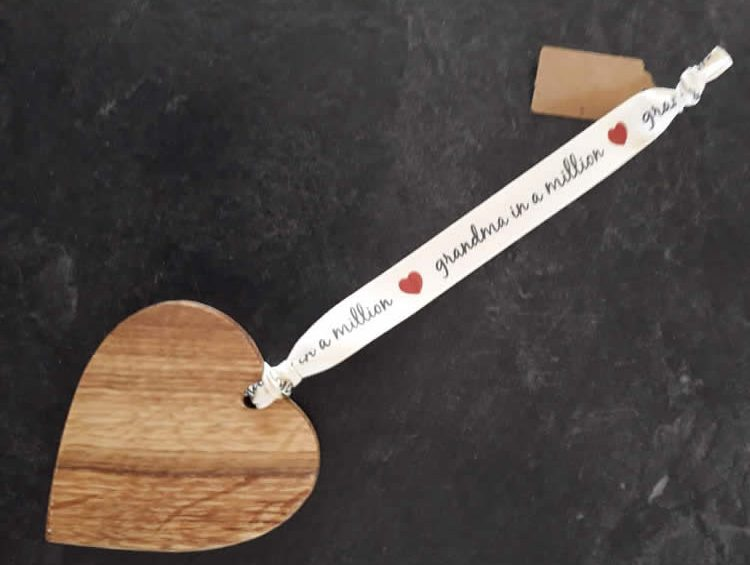 Solid Oak Heart On Premium Ribbon – Grandma In A Million