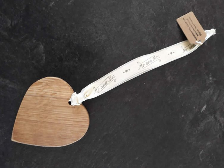 Solid Oak Heart On Premium Ribbon – Mr And Mrs