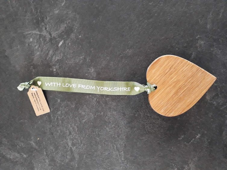 Solid Oak Heart On Premium Ribbon – With Love From Yorkshire