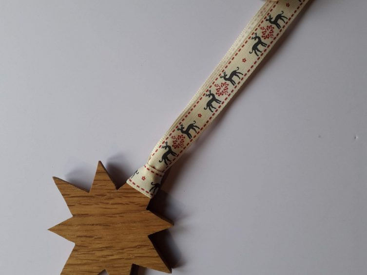 Solid Oak Star On Premium Ribbon-Reindeer