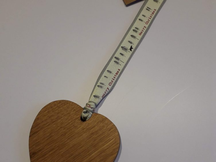 Solid Oak Heart On Premium Ribbon- Nordic White Merry Christmas