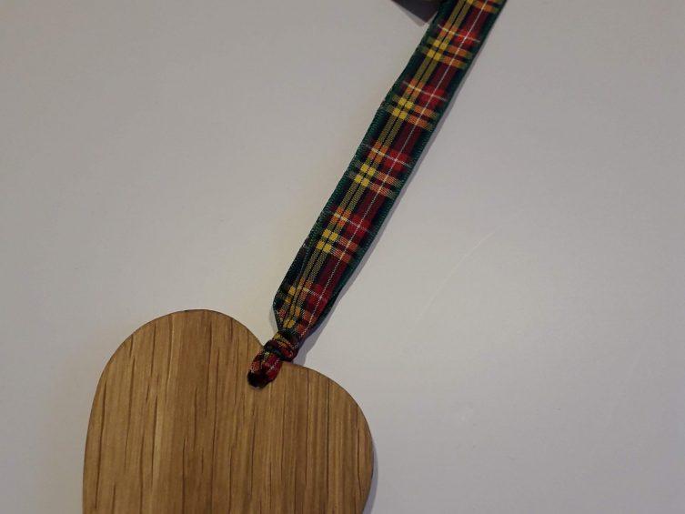 Solid Oak Heart On Premium Ribbon- Buchannan Tartan