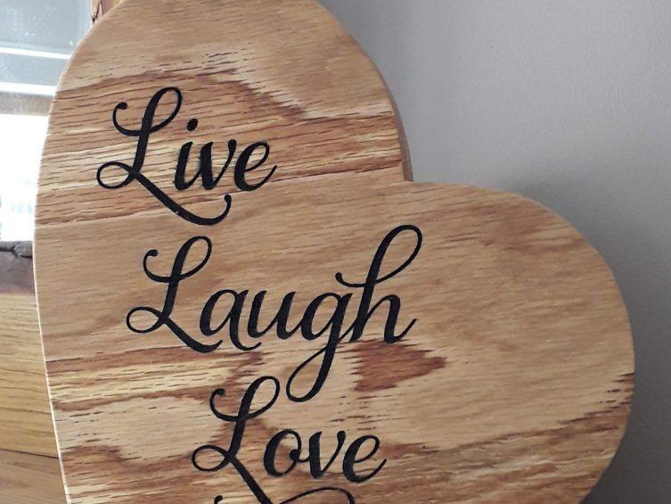 Engraved Solid Oak Heart –  Live Laugh Love